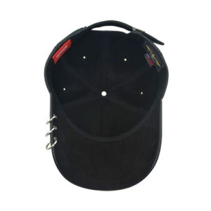 Black 6 Panel PU Fashion Hip Hop Baseball Cap pictures & photos