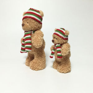 Winter Fancy Standing Fluffy Plush Soft Stuffed Scarf Bear Toy pictures & photos
