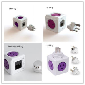 Convenient Cube 4 Outlets UK Plug Wall Socket with 2 USB Ports pictures & photos