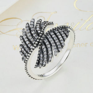 925 Sterling Silver Phoenix Feather Silver Ring with Clear Cubic Ring Women Engagement Fine Jewelry Mood Ring pictures & photos