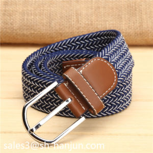 Fashion Men′s Elastic Woven Fabric Leather Belt