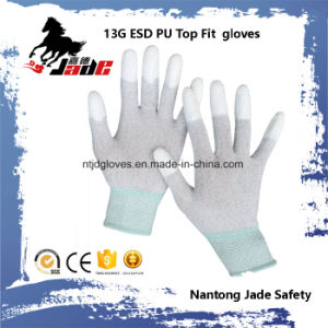 13G PU Top Fit Coated ESD Work Glove pictures & photos