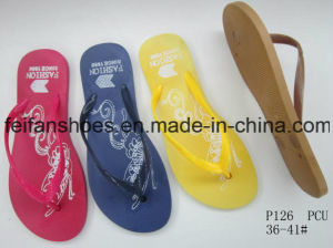 Women PVC Slippers Good Price Flip Flops (FFLT112201) pictures & photos