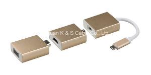 USB3.1 C Male to Mini-Dp + Mini-Dp to HDMI + HDMI to VGA pictures & photos