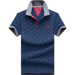 Custom 2017 Men Stripe Shirts Cotton Pique Polo Shirts pictures & photos