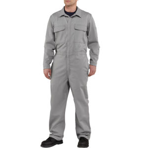 Factory OEM 100% Cotton Grey Anti-Acid Coverall with Short Sleeve pictures & photos