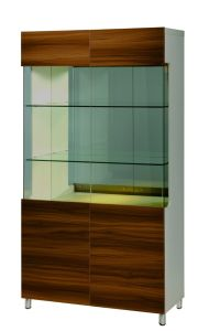 Wooden Walnut Display Cabinet with Glass Decaration (B302-A)