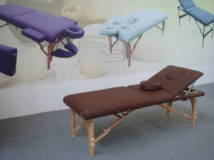 Deluxe Wooden Portable Massage Table with Adjustable Backrest pictures & photos
