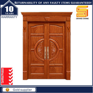 Exterior Solid Wooden Building Material Double Panel Knotty Alder Door pictures & photos