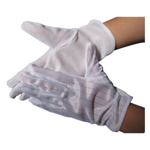 Cleanroom Working Wear PVC Dotted Anti-Static Gloves pictures & photos