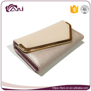 Ladies Fancy Hand Purse with Metal Frame, PU Leather Long Slim Wallet pictures & photos