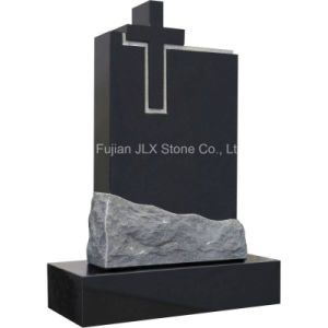 Black Granite Cross Design Headstone with Cheap Price pictures & photos