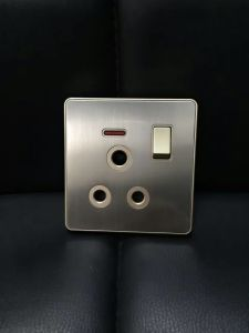 British Standard Stainless 15A Round-Pinned Switched Socket with Neon pictures & photos