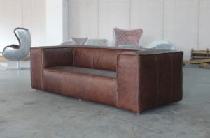 Antique Living Room Sofa, 3-Seater Sofa, Full Vintage Leather Sofa pictures & photos
