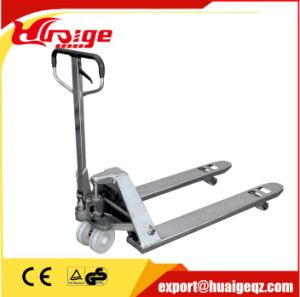 High Quality AC Pump Hand Pallet Truck with Long Fork pictures & photos