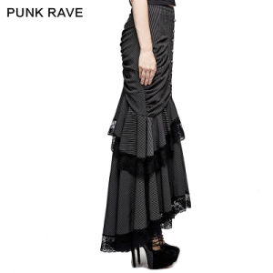 Q-306 Steampunk Graceful Full-Skirted Stripes Woven Fishtail Skirt pictures & photos