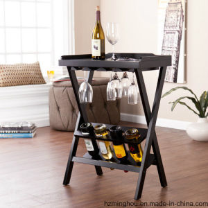 Kitchen Wine Display Rack Shelves with Wood and Metal pictures & photos
