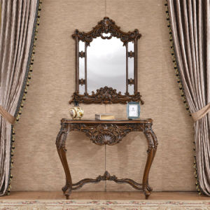 Home Furniture Antique Resin Sculpture Console Mirror pictures & photos