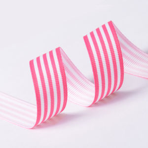 "5/8"" Polyester Grosgrain Stripe Ribbon Pink and White pictures & photos"