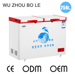 Single Temperature Top Open Double Doors Chest Freezer with Universal Casters