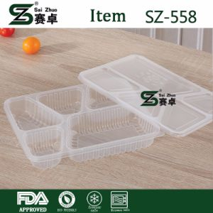 Disposable 5 Compartment Plastic Fast Food Storage Box with Cover pictures & photos