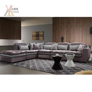 Silver and Grey Fabric Modern Sofa with Cushion (911A)