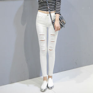 2017 Hot Sale Lady Cheap Basic Skinny Long Jeans with Hole pictures & photos
