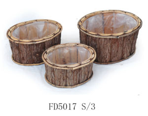 Cheap Home and Garden Decorative Natural Oval Wooden Flower Pot pictures & photos