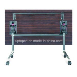 Folding Square Wooden Table with Wheels and Steel Legs (SP-FT406) pictures & photos
