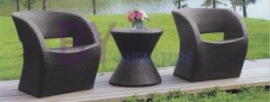 Black Leisure Patio Furniture with 2 PE Rattan Chairs pictures & photos