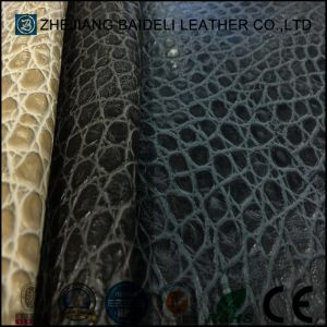 Customized Color Crocodile Pattern Semi-PU Furniture Leather pictures & photos