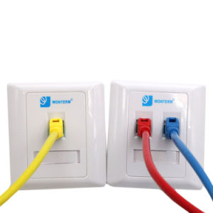 Network Face Wall Plate/UK Type/Double Port Face Plate pictures & photos