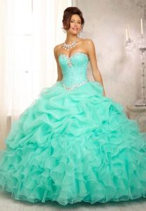 Blue Organza Cheap Quinceanera Dress Formal Wedding Ball Gown Hmri9