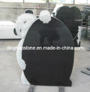 Black Granite Headstone with Carving Bear (DH-T006)