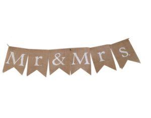 Mr&Mrs Burlap Banner Merry Christmas Glitter Banner