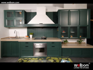 2015welbom Fantacy Green Solid Wood Kitchen Cabinetry pictures & photos