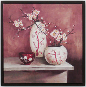 Hand Brush Stroke Canvas Oil Painting Wall Art - Floral Plum Blossom in 2 Bottles Pink Tone