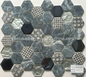 Newest Technology Full Body Hexagon Glass Mosaic Tile pictures & photos