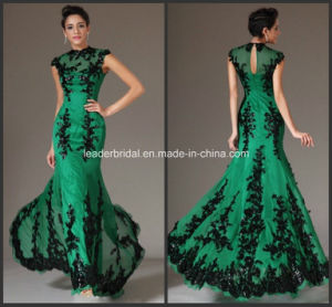 Green Chiffon Black Lace Appliques Full Length Mother of The Bride Dress B14923 pictures & photos