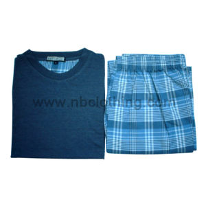 Mens Knitting Top+Woven Pant Pyjamas Sets (MP-7-03)