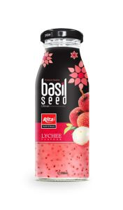 200ml Glass Bottle Lychee Flavor Basil Seed Drink pictures & photos