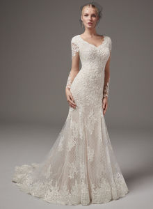 Vintage Modest Wedding Dresses with Long Sleeves Lace Chiffon Wedding Gowns 2017 Country Wedding Dress pictures & photos