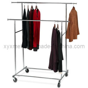 Garment Rack Rolling Collapsible Chromed Steel Dual Bar Clothes Stand pictures & photos