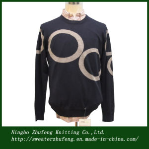 Men′s Circle Design Intarsia Pullover Sweater Nbzf0048