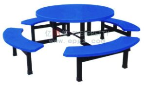 Cheap Round Blue 8-Seats Fiber Glass Top School Dining Table with Benches Set Furniture pictures & photos