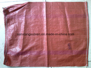 Red PP Woven Sack with String /Hot Sale PP Woven Bag for Korea pictures & photos