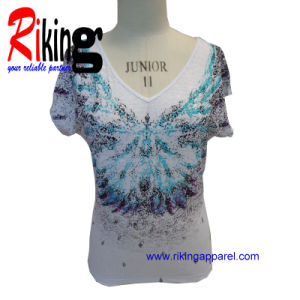 Fashion Ladies Garment Printing T Shirt (RKT1375)