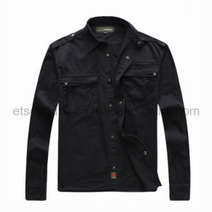 Black 100% Cotton Men′s Casual Shirt Jacket (JP1908) pictures & photos