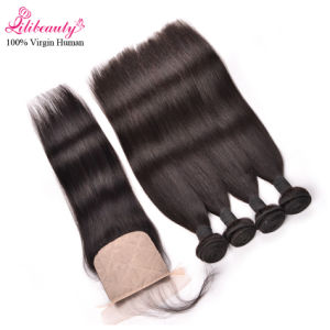 100% Human Virgin Hair Straight Hair Bundles with 4X4 Silk Base Closure pictures & photos
