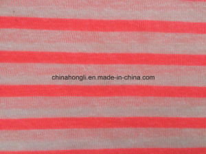 Hacci 100%T Yarn-Dye Stripe& Slub Knitting Fabric with Fluorescent pictures & photos
